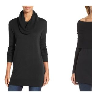 NWOT* Nordstrom Black Convertible Cowl Neck Tunic